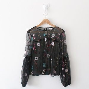A New Day Floral Embroidered Sheer Blouse